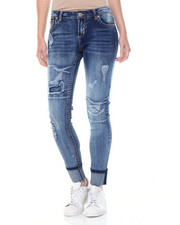 Bottoms - Sandblasted Destructed Patches Cuffed Skinny Jean