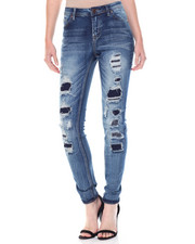 Bottoms - Rip & Repair Sandblasted Skinny Jean