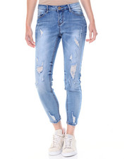 Women - Sandblasted Destructed Skinny Jean