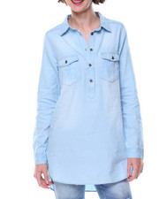 Fashion Lab - Denim Hi-Low Hem Tunic Shirt