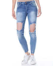 Women - Destructed Cut Outs Buttlifter Ankle Skinny Jean