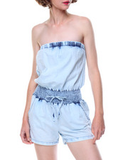 Jumpsuits - Smocked Waist Strapless Denim Romper