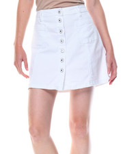 Fashion Lab - Button Front Stretch A-line Denim Skirt