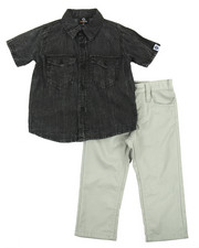 Sets - 2 PC SET - ACID WASH WOVEN & PANTS (2T-4T)