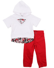 Sets - 2 PC SET - ELONGATED HOODY & TWILL JOGGERS (2T-4T)