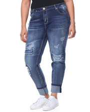 Jeans - Sandblasted Destructed Patch Cuffed Skinny Jean (Plus)