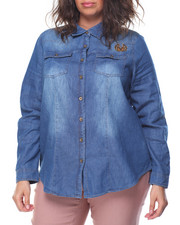 Women - Patchwork Denim Roll Sleeve Shirt (Plus)