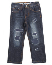 Akademiks - RIP & REPAIR JEANS W/ FAUX LEATHER UNDERLAY (4-7)