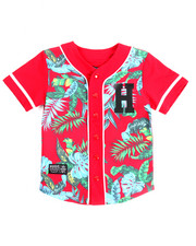 Button-downs - FLORAL BASEBALL TOP (8-20)