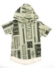 Boys - S/S PEACE OUT ALL OVER PRINT HOODED TEE (4-7)
