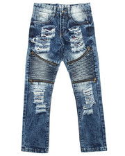 Jeans - ACID WASH MOTO JEANS W/ ZIPPERS (8-20)