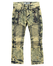 Arcade Styles - ACID WASH MOTO JEANS W/ ZIPPERS (4-7)
