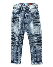 Arcade Styles - ACID WASH STRETCH MOTO JEANS (4-7)