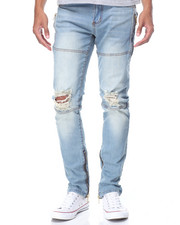 Jeans & Pants - Knee - Rip Leg - Zip Denim Jeans