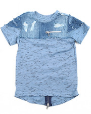 Tops - ELONGATED INDIGO MARLED TEE W/ CHAMBRAY YOKE (2T-4T)