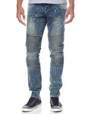 Jeans & Pants - Nouveau - Moto Splattered Denim Jeans