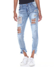 Fashion Lab - Destructed Hem Potassium Wash Skinny Jean