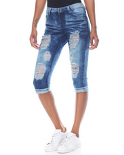 Fashion Lab - Acid Wash Destructed Denim Capri Skinny Jean