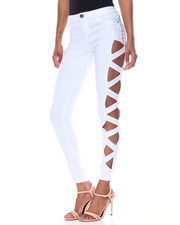 Pants - Super Stretch Lattice Side Cut Outs Skinny Pant