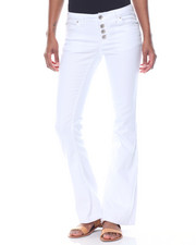 Women - White Flare Button Jean W/Braid Pocket