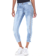 Fashion Lab - Destructed Side Seam Fringe Ankle Skinny Jean