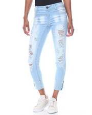 Fashion Lab - Snow Wash Light Blasting Roll Cuff Skinny Jean