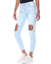 Fashion Lab - Blow Out Knee Dog Bite Hem Skinny Jean
