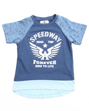 Tops - ELONGATED INDIGO MARLED RAGLAN TEE (2T-4T)