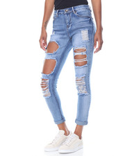 Fashion Lab - Rips  & Tears Roll Cuff Skinny Jean