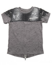 Tops - ELONGATED MARLED TEE W/ CHAMBRAY YOKE (2T-4T)