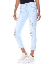 Fashion Lab - Powder Wash Destructed Roll Cuff Skinny Jean