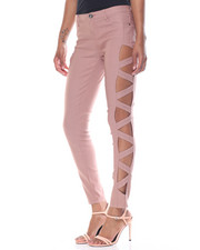 Women - Super Stretch Lattice Side Cut Outs Skinny Pant