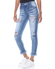 Fashion Lab - Whiskers Destructed Frayed Hem Skinny Jean