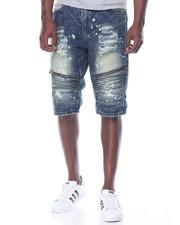 Men - Rigid Zipper Moto Denim Shorts