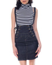 Women - High Waisted Overall Denim Pencil Skirt