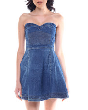 Dresses - Pintuck Bustier Denim A-Line Dress