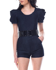 Jumpsuits - Dramatic Sleeve Belted Jean Romper