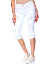 Fashion Lab - Destructed Denim Capri Skinny Jean