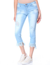 Women - Heavy Blast Fringe Destructed Hem Skinny Jean
