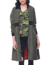Women - Oversized Long Bomber Jacket