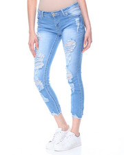 Women - Destructed Hem Rips & Tears Skinny Jean
