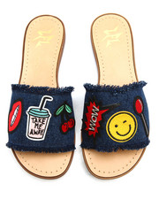 Women - DENIM SLIDE W/ PATCHES