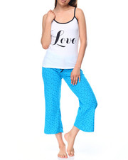 Women - Love/Bow Tie Print Capri PJ Set