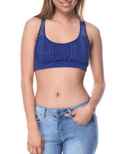 Women - Distressed Denim Way Seamless Mesh Bralette