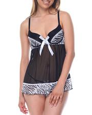 Women - Zebra Print/ Mesh Babydoll Set