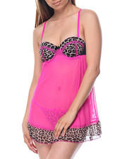 Women - Animal Print/ Mesh Babydoll Set