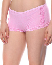 Women - Heathered Cotton Lace Trim 3Pk Shorts