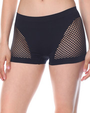 Women - Stripe/Floral/Fishnet Sides Seamless 3Pk Shorts