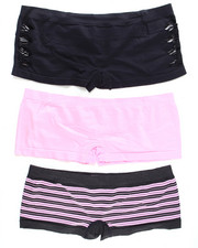 Panties - Hottie Cut Out/Stripe/Solid  3Pk Seamless Shorts (Plus)
