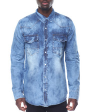 Men - Long Sleeve Pocketed Denim Shirt